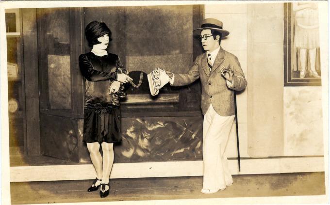 """Ginza """"modern girl"""" (mo-ga) and """"modern boy"""" (mo-bo), c. 1930."""