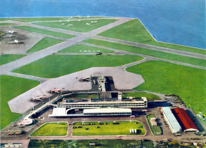 Aerial view of Haneda Airfield, c. 1955, after the completion of the terminal.