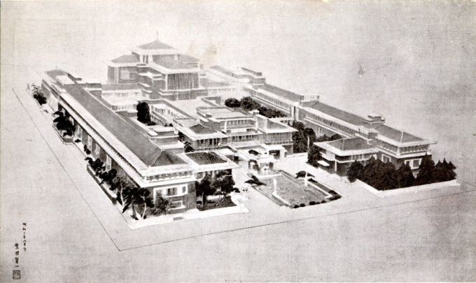Imperial Hotel, architect's rendering, c. 1923.