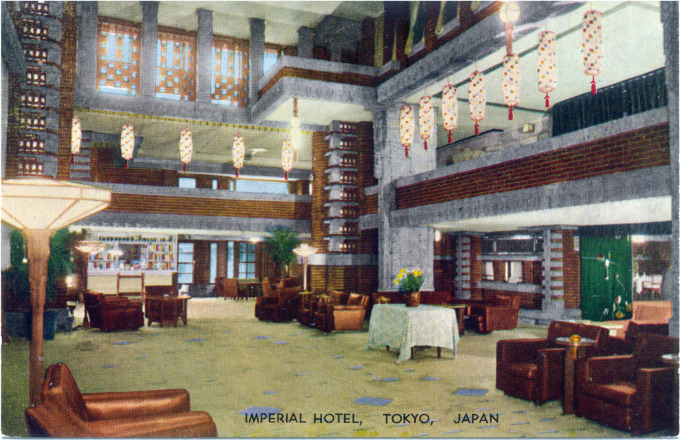 Imperial Hotel, lobby, c. 1930.