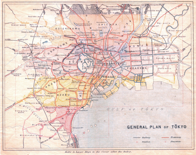 Map: General Plan of Tokyo City, c. 1930.
