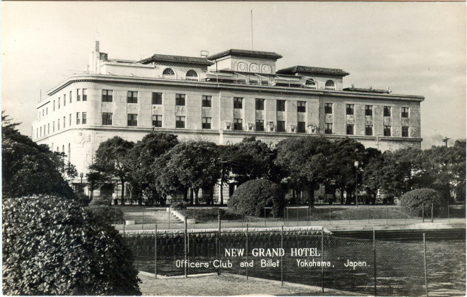 Exterior view of the Hotel New Grand during the Occupation Era (1945-1952).