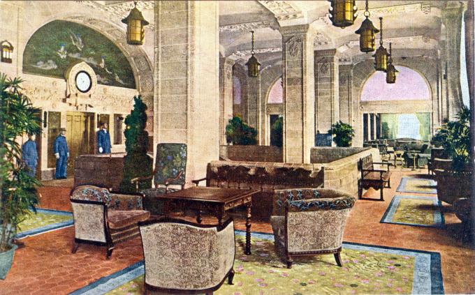 Elevator lobby, Hotel New Grand, Yokohama, c. 1940.