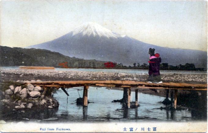 Fuji from Fujikawa, c. 1910.