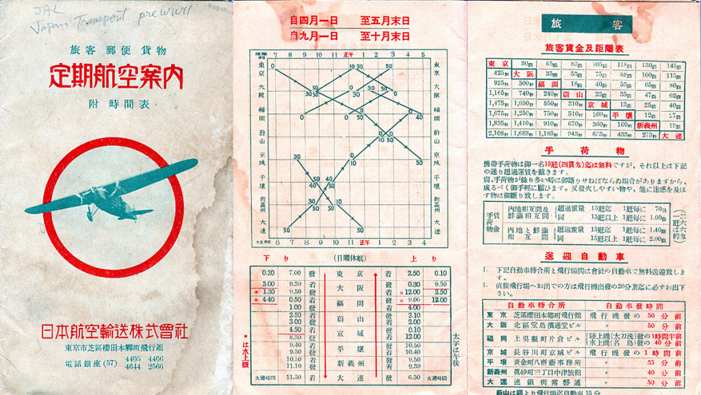 Japan Air Transport Co. flight schedule, c. 1935.