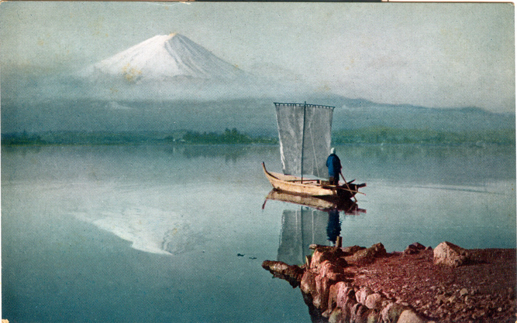 Reflected view of Mt. Fuji, c. 1920, upon the waters of Lake Ashi.