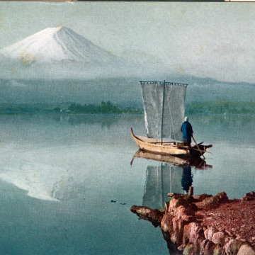 Inverted view of Mt. Fuji, c. 1920, upon the waters of Lake Ashi.