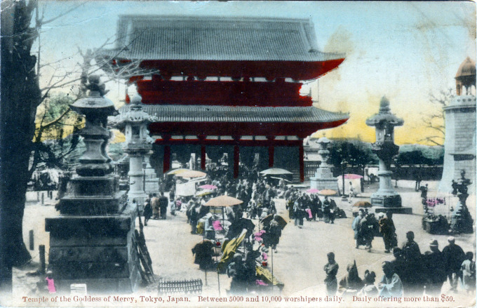 Temple of the Goddess of Mercy, Asakusa, Tokyo, c. 1910.