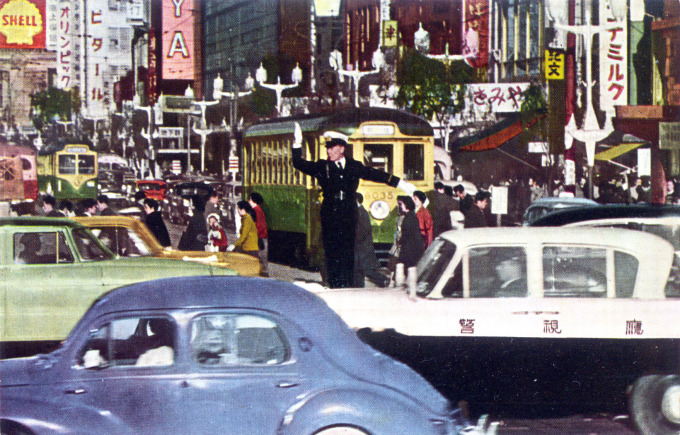 Ginza Crossing streetcars, Tokyo, c. 1960.