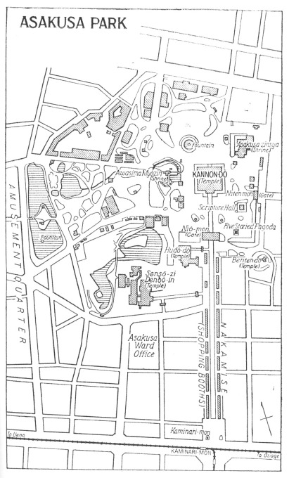 Map: Asakusa, showing the temple grounds, Asakusa Park, and Theater Street.