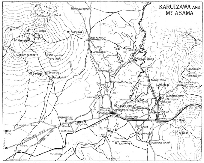 "Map: Karuizawa and Mt. Asama. Kose Hot Springs is located north of Karuizawa and the Mikasa Hotel. (From ""Japan: The Official Guide"", 1941.)"