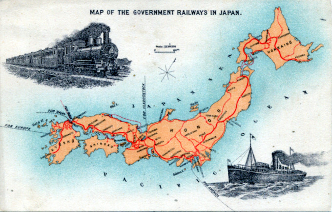 Map of the Government Railways in Japan, c. 1910.