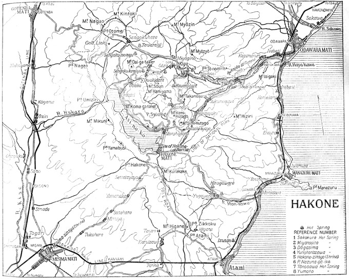 Map: Hakone and Lake Ashi (Lake Hakone) (<em>Japan: The Official Guide</em>, 1941)