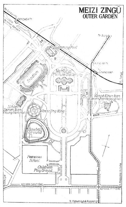 Map: Meiji Outer Garden (from Japan: The Official Guide, 1941)