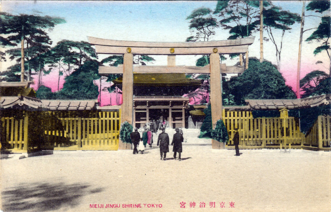 Main Shrine of Meiji Jingu, Tokyo, c. 1925.