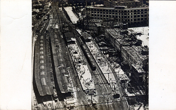 Aerial view of Tokyo Station, 1945. The entire third level of the terminal was destroyed in the May, 1945 firebombing of the capital.