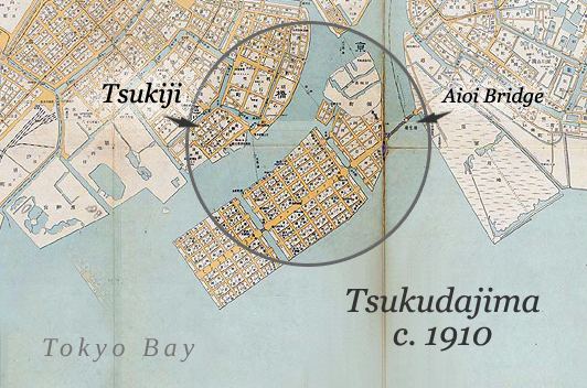 Map: Tsukudajima and Tsukiji, c. 1910.