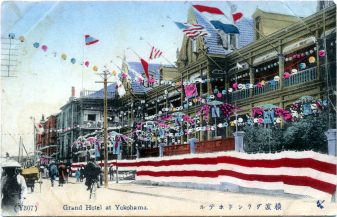 Yokohama Grand Hotel decorated for the arrival of the 'Great White Fleet', 1908.