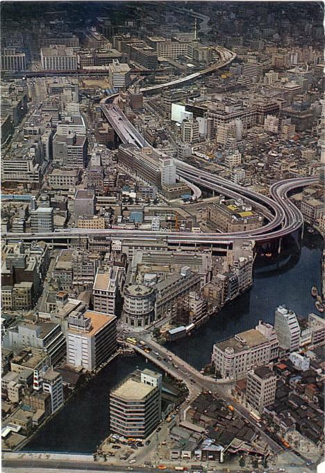 Aerial view, Tokyo Stock Exchange at Yoroibashi, c. 1970.