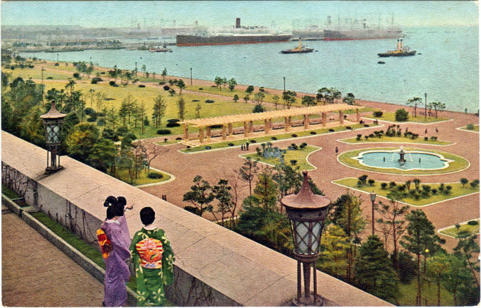 Yamashita Park and Yokohama harbor, from the roof of the New Grand Hotel, c. 1960.