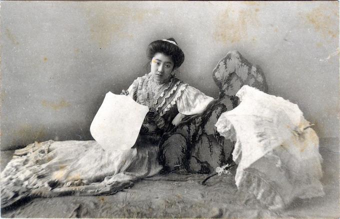 Bijin in Western style dress (yofuku), c. 1910.
