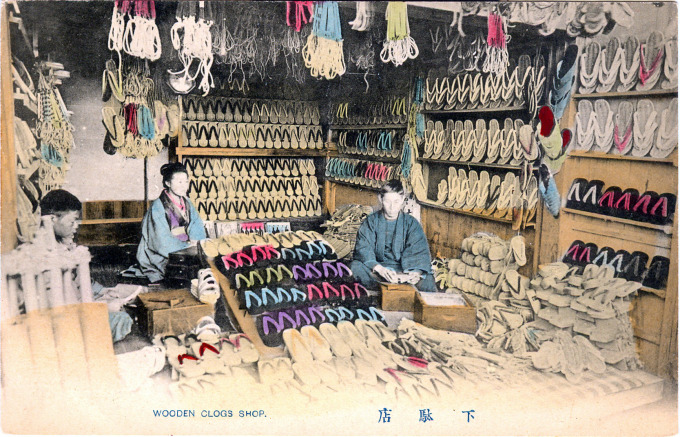 Wooden clogs shop, Japan, c. 1910.
