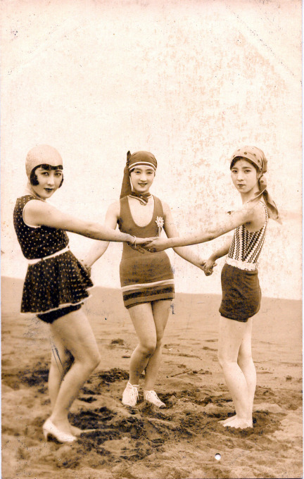Japanese swimsuit fashion, c. 1920.