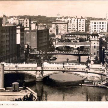Nihonbashi (foreground), Nishikashibashi and Ichikokubashi bridges, c. 1940.