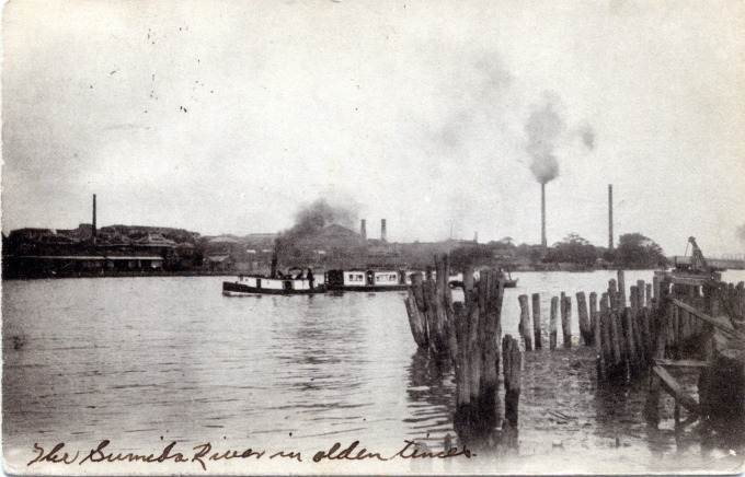 An excursion boat on the Sumida River at Hashiba, c. 1910.