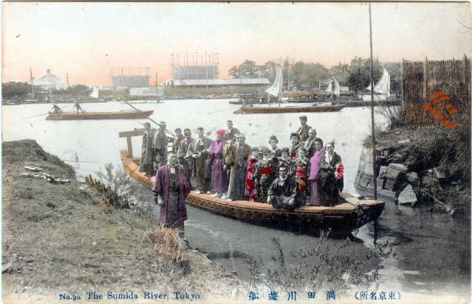 Sumida river ferry with passengers, c. 1910.