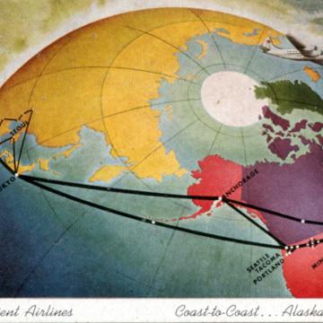 Northwest Orient Airlines, Route map, c. 1949.