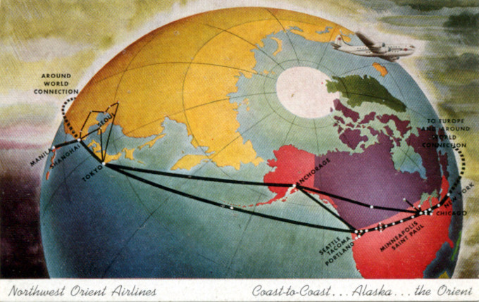 Northwest Orient Airlines, Route map, c. 1949.