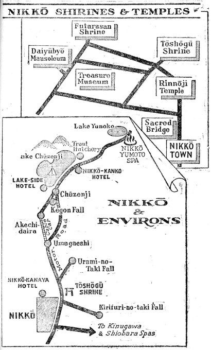 Map: Nikko & Environs (Japan: The Pocket Guide, 1946)