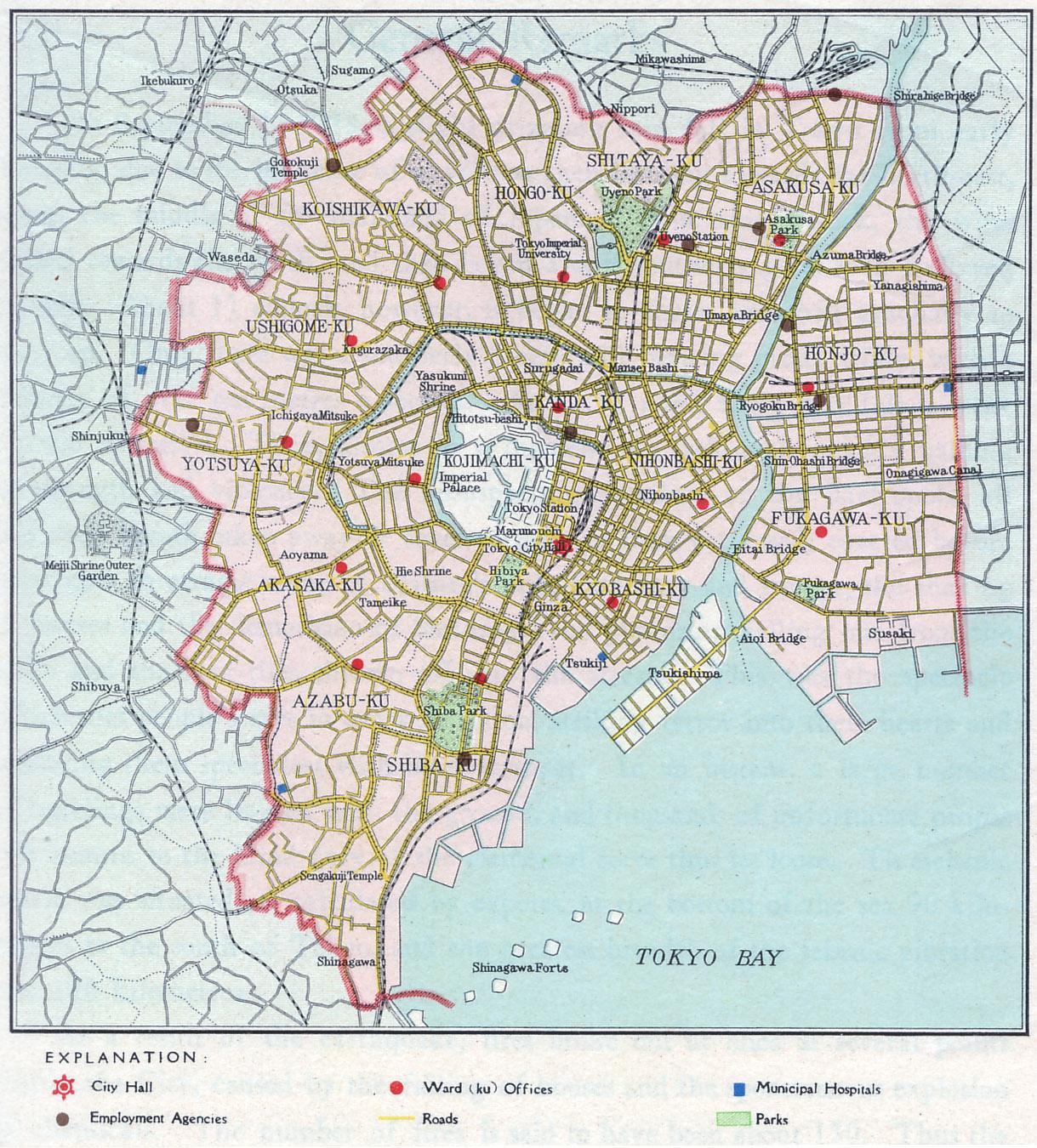 Cartography Old Tokyo - Japan map 1920