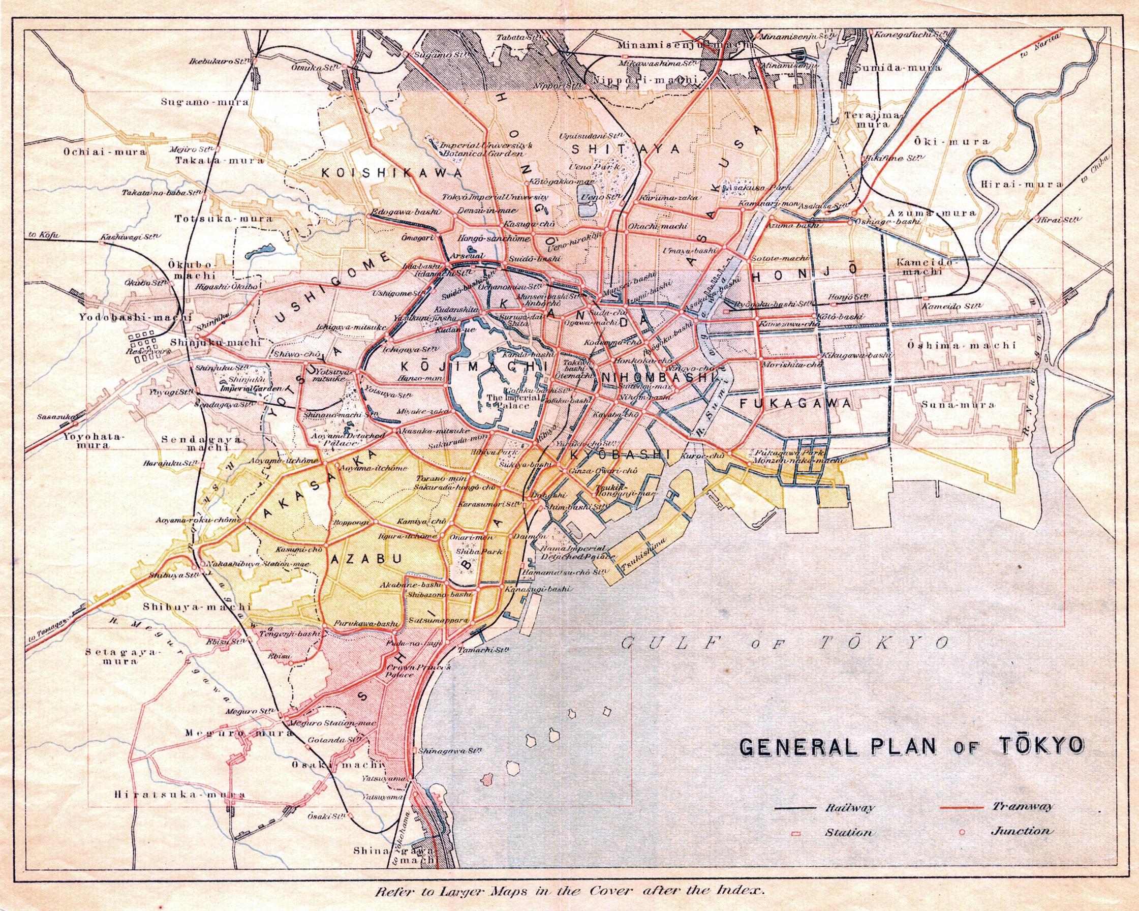 Cartography Old Tokyo - Japan map 1930