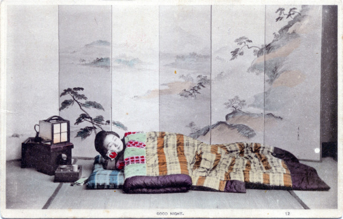 """Good night"", c. 1905. Futon on tatami."