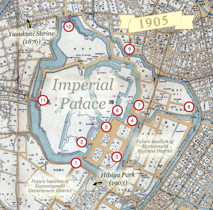 Map: Imperial Palace gates (c. 1905)
