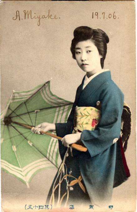 Geisha with parasol, 1906.