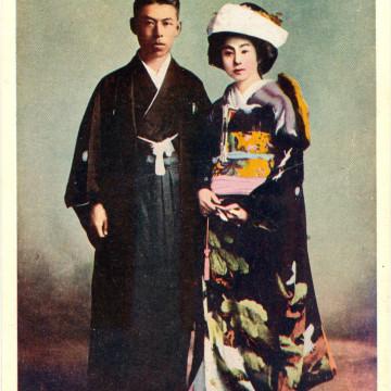 Japanese wedding fashion, c. 1920.