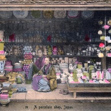 A porcelain shop, c. 1900.