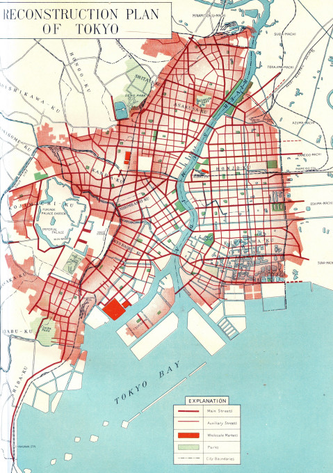 Tokyo Reconstruction Plan in the aftermath of the 1923 Great Kanto earthquake. (Source: Tokyo Reconstruction Work, Tokyo Municipal Office, 1930.)