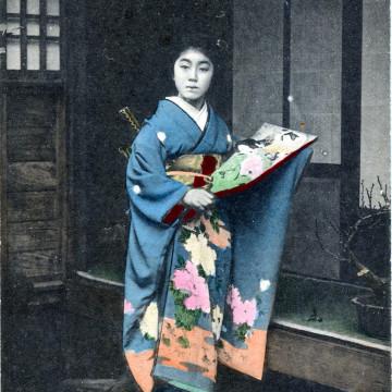 Geisha & kimono, c. 1910.