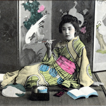 Onnanoko & Japanese tobacco pipe, c. 1910.