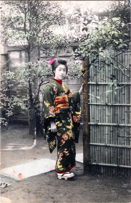 Maiko in kimono, Kyoto, c. 1910.
