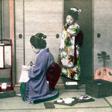 Geisha and gekkin, c. 1910.