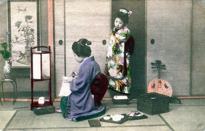 Geisha with yueqin, c. 1910.
