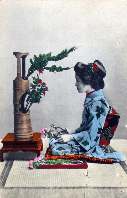 Maiko & ikebana, c. 1910.