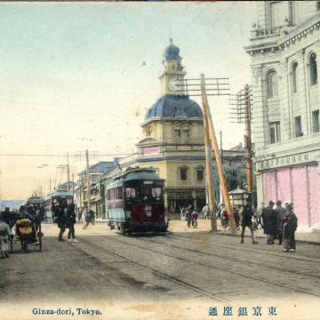 Hattori Building, c. 1910, at Ginza Crossing, looking west down Harumi-dori toward the Imperial Palace.