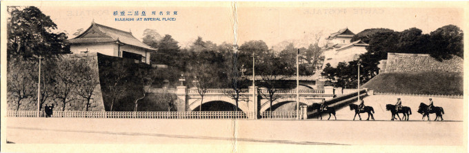 """Nijubashi at Imperial Palace,"" c. 1910."