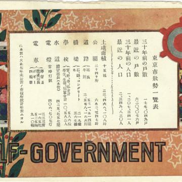 Commemorative postcard, Tokyo self-government 30th anniversary, 1919.